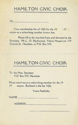 Subscription membership form, 1946