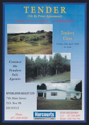 Tender - Sheep & Cattle - Forestry