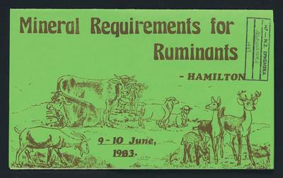 Mineral Requirements for Ruminants Hamilton
