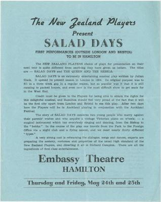 Salad Days leaflet, 1956