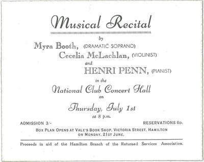 Musical Recital advertisement, 1943