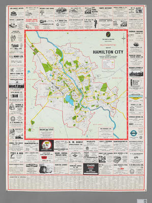 Authentic Map of Hamilton City 1968