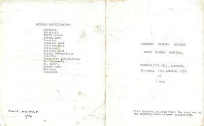 Hamilton Primary Schools' Music Festival 1957