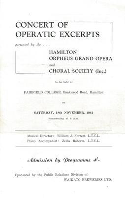 Hamilton Orpheus Grand Opera and Choral Society - 1961