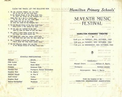 Hamilton Primary Schools' Music Festical 1963