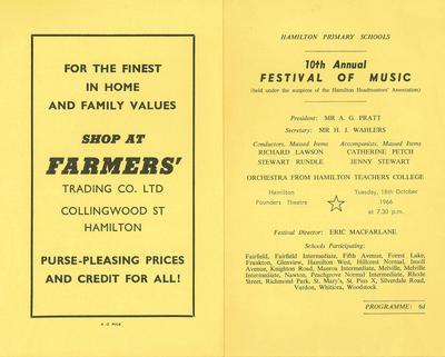 Hamilton Primary Schools' Music Festival 1966