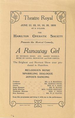 A Runaway Girl, 1926