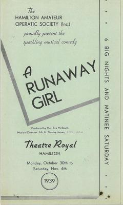 A Runaway Girl, 1939