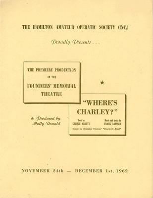 Where's Charley? at Founders' Memorial Theatre, 1962