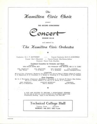 Second Concert, 1951-52 Season