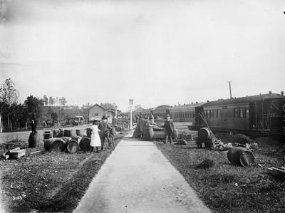 Passenger train at Hamilton railway station