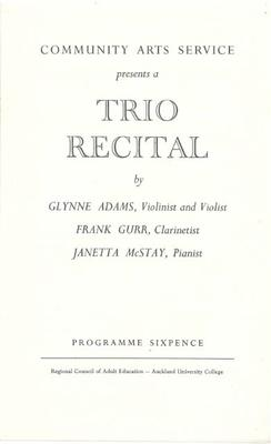 Trio Recital, c1954