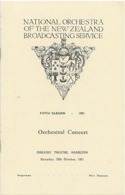 National Orchestra of the New Zealand Broadcasting Service, 1951