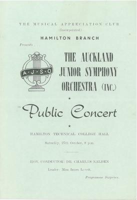Auckland Junior Symphony Orchestra, 1951