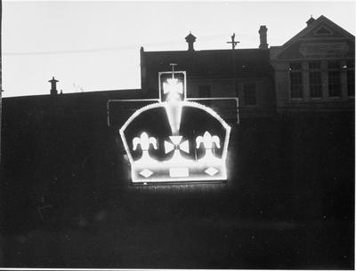 Illuminated crown on Anglesea Street wall
