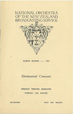 National Orchestra of the New Zealand Broadcasting Service, 1954