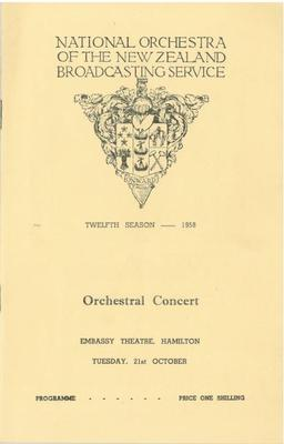 National Orchestra of the New Zealand Broadcasting Service, 1958