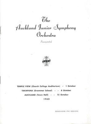 Auckland Junior Symphony Orchestra, 1960