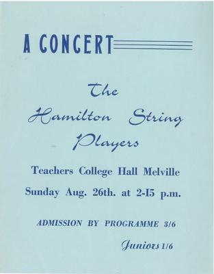 Hamilton String Players, 1962