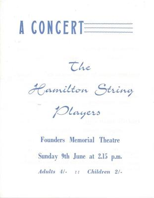 Hamilton String Players, 1963