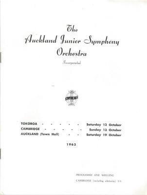 Auckland Junior Symphony Orchestra, 1963