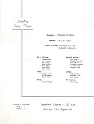 Hamilton String Players, 1965