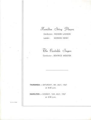 Hamilton String Players, 1967