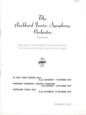 Auckland Junior Symphony Orchestra, 1967