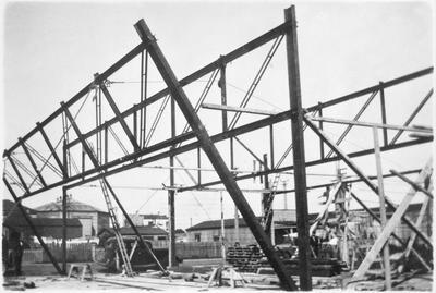 Construction of the Sampson & Boot building in Frankton
