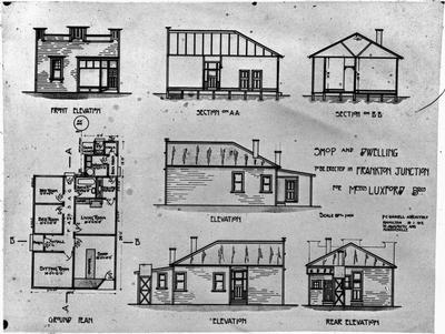 Architect plans for a house with shop at Frankton Junction