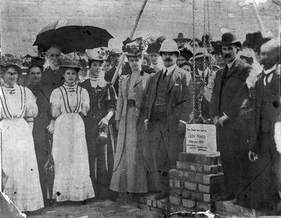 Lady Ward laying foundation stone