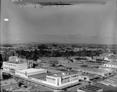 Aerial view of Farmers Building, 1967