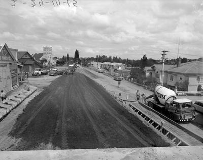 Construction of the River Road overpass 1965