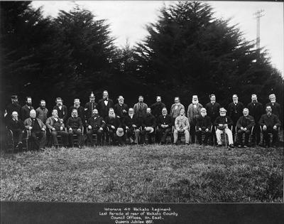 Veterans 4th Waikato Regiment. Last Parade at rear of Waikato County Council offices, Hn. East. Queen's Jubilee, 1887