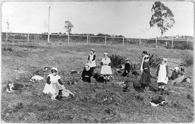 Frankton School girls playing at being nurses
