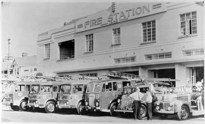 Appliance fleet outside Hamilton Fire Station
