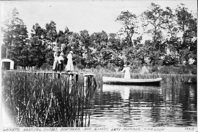 """Waikato Hospital Nurses' Boatshed and Dinghy, Lake Rotoroa, Hamilton, 1920"""
