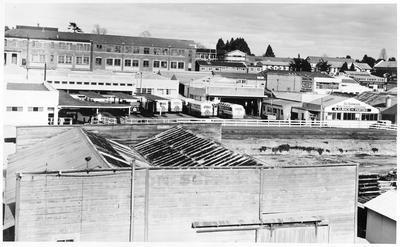View across Ward Street showing New Zealand Railway Bus depot