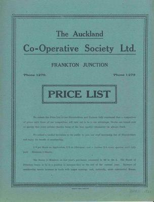Auckland Co-operative Society, Auckland Co-operative Society Ltd