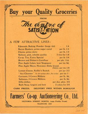Farmers' Co-operative Auctioneering Co, Ltd, Buy your Quality Groceries