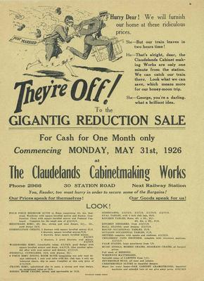 Claudelands Cabinetmaking Works, They're Off! to the Gigantig Reduction Sale
