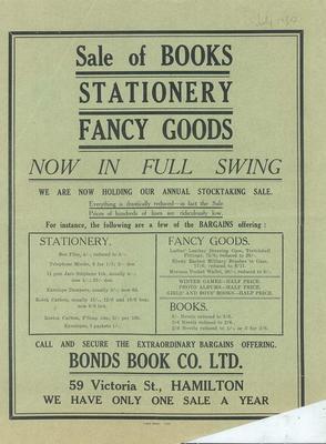 Bonds Book Co Ltd, Sale of Books Stationery Fancy Goods