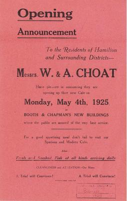 W & A Choat, Opening Announcement