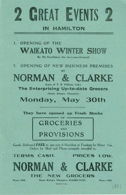 Norman & Clarke, 2 Great Events in Hamilton