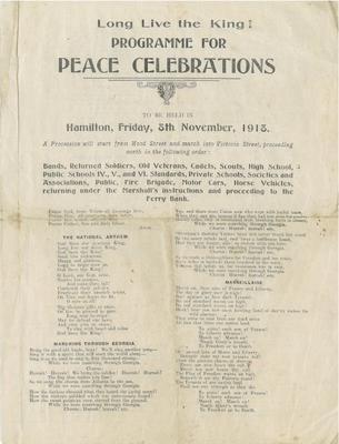 Peace Celebrations, Programme, Peace Celebrations