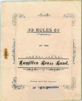 Rules of the Hamilton Brass Band
