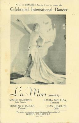 "Celebrated International dancer ""La Meri"""