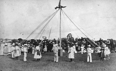 Maypole dancing in Sydney Square