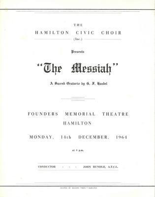 Hamilton Civic Choir Concert Programme