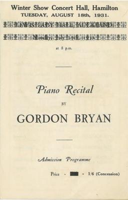 Piano Recital by Gordon Bryan